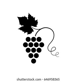 Vector illustration of icon with bunch ripe grapes with leaf and curlicue . Black symbol or logo isolated on white background. For advertising or promotion of product on market. EPS 10