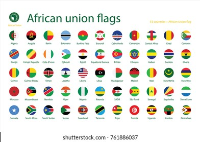 Vector illustration icon, button set, collection of African Union members flags isolated on white background.