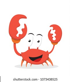 vector Illustration of icon cartoon crab character with happy, smile, funny expressions and emotions