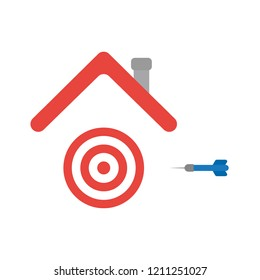 Vector illustration icon concept of bulls eye and dart under house roof.