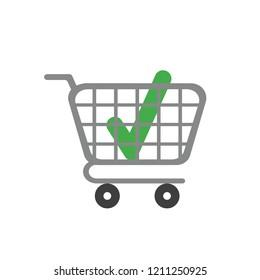 Vector illustration icon concept of check mark inside shopping cart.