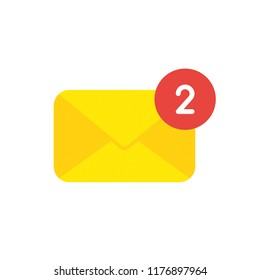 Vector illustration icon concept of closed mail envelope with number two.