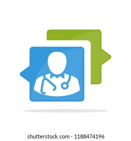 Vector illustration icon with the concept of communicating, consulting about medical health services