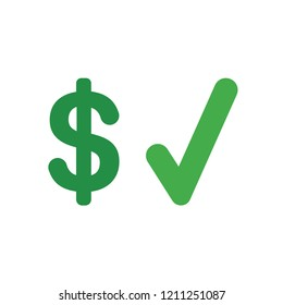 Vector illustration icon concept of dollar symbol with check mark.