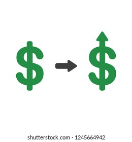 Vector illustration icon concept of dollar symbol arrow moving up.