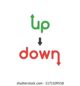 Vector illustration icon concept of up and down words with arrows moving up and down.