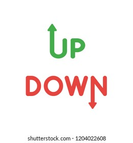 Vector illustration icon concept of up and down words with arrow moving up and down.