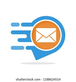Vector illustration icon with the concept of fast mail delivery service