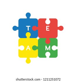 Vector illustration icon concept of four connected team jigsaw puzzle pieces.