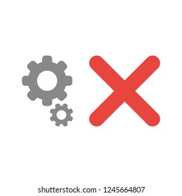 Vector illustration icon concept of gears with x mark.