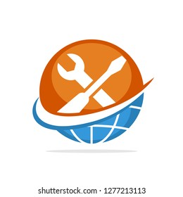 Vector illustration icon with the concept of global repair service support