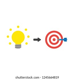 Vector illustration icon concept of glowing light bulb with bulls eye and dart in teh center.