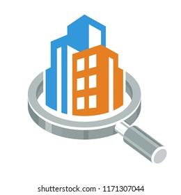 vector illustration icon with the concept of inspection and evaluation of building structures