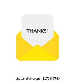 Vector illustration icon concept of mail envelope with paper and thanks word.