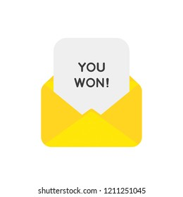 Vector illustration icon concept of mail envelope with you won on paper.