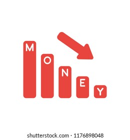 Vector illustration icon concept of money bar graph moving down.
