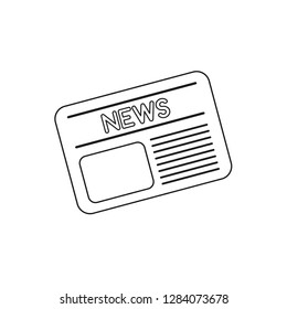 Vector illustration icon concept of newspaper. Black outlines.