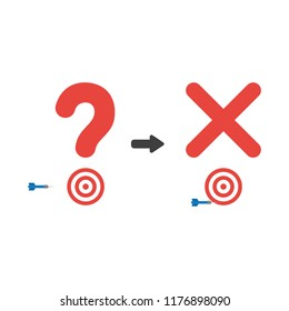 Vector illustration icon concept of question mark and x mark with bulls eye and dart miss the target.