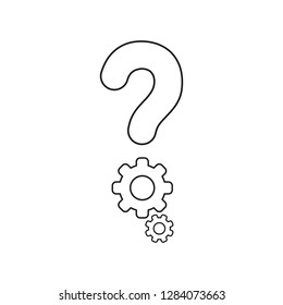 Vector illustration icon concept of question mark with gears. Black outlines.