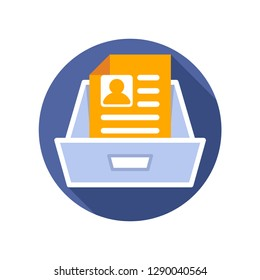 Vector illustration icon with the concept of registration data document storage media.