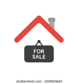 Vector illustration icon concept of for sale hanging sign under house roof.