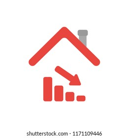 Vector illustration icon concept of sales bar graph moving down under house roof.