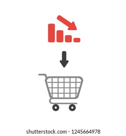 Vector illustration icon concept of shopping cart with bar graph moving down.