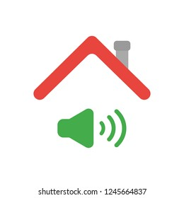 Vector illustration icon concept of sound on symbol under house roof.