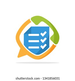 Vector illustration icon with the concept of survey service communication with telephone media