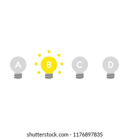 Vector illustration icon concept of three grey light bulbs and one glowing light bulb idea.