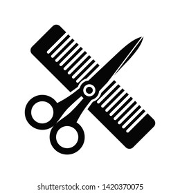 Vector illustration icon of crossed scissors and comb symbols. Barber shop black icon isolated on white background