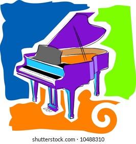 a vector, illustration icon design for a piano