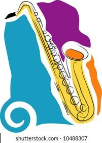 a vector, illustration icon design for a saxophone