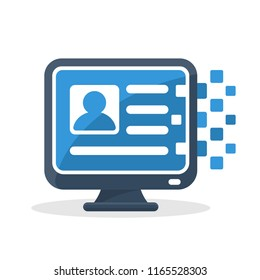 Vector illustration icon with digital communication concept, about online registration