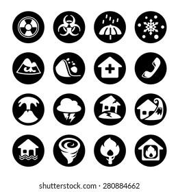 Vector Illustration, Icon disaster in black.