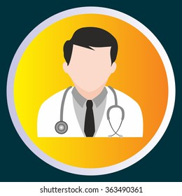 Vector illustration of icon doctor on yellow background
