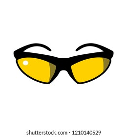Vector illustration icon of flat sport eyeglasses in yellow and black colors with white background