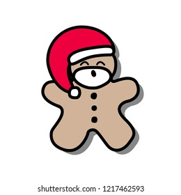 Vector illustration icon of gingerbread man with beard and dressing in red Santa Claus' clothes on a white background