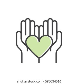 Vector Illustration Icon Graphic Element for Nonprofit Organizations and Donation Centre. Fundraising Symbols. Crowdfunding Project Label. Charity Logo, Blood donation flyer banner, Green Eco Nature