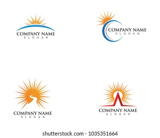Vector illustration Icon Logo Template Sun over horizon