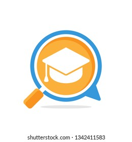 Vector illustration icon with media communication and review concept, to access information about education