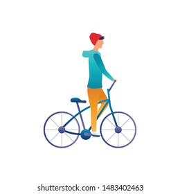 Vector illustration, icon or pictogram of young man in red hat and casual clothes riding a bicycle. City life, training, helthy lifestyle, staying fit, bike. Flat