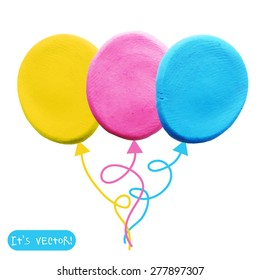 Vector illustration. Icon of plasticine balloon on white background. Design for your website.