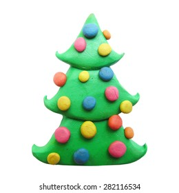 Vector illustration. Icon of plasticine Christmas tree isolated on background.
