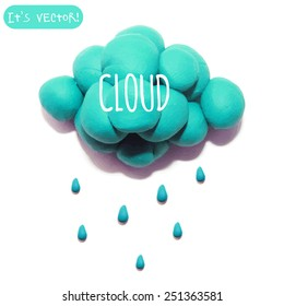 Vector illustration. Icon of plasticine cloud on white background. Design for your website.