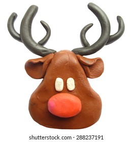 Vector illustration. Icon of plasticine Reindeer Rudolph isolated on white background.