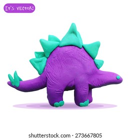 Vector illustration. Icon of plasticine stegosaurus isolated on white background.