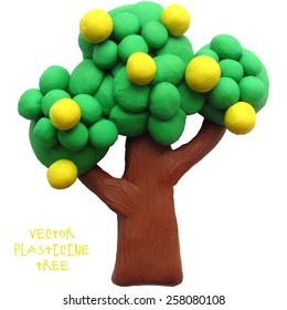 Vector illustration. Icon of plasticine tree on white background. Design for your website.