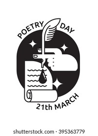 vector illustration icon to poetry day with pan, ink, hand, paper and text