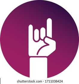 Vector illustration icon of raised fan hands in a circle isolated on white background. Online rock concert. Purple pink button. Rock n roll sign, hand-horn, live streaming